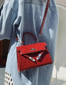 Fashion Red Stone Textured Shoulder Crossbody Bag