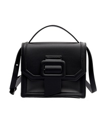 Fashion Black Contrast Stitching Translucent Square Button Shoulder Crossbody Bag