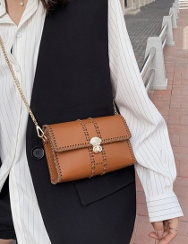 Fashion Brown Chain Embroidered Shoulder Bag
