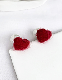 Fashion Red Alloy Plush Love Pearl Stud Earrings
