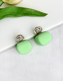 Fashion Fluorescent Green Alloy Diamond Stud Earrings