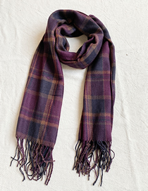 Fashion Fuchsia Knitted Plaid Scarf