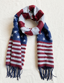 Fashion Red + Blue Knitted Five-pointed Star Fringed Scarf