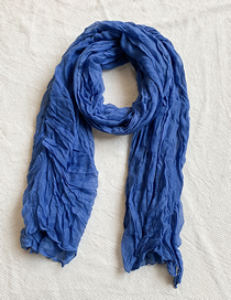 Fashion Blue Knitted Pleated Scarf
