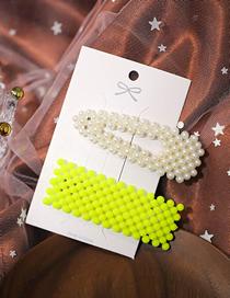 Fashion White + Yellow Pearl Geometric Hollow Hair Clip Set