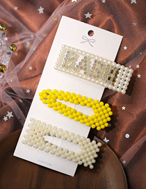 Fashion White + Yellow Diamond And Pearl Pearl Hollow Hairpin Set