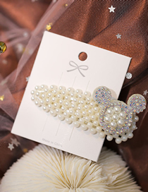 Fashion White Pearl Hairpin With Mickey Ears And Diamonds