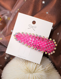 Fashion Red Geometric Triangle Hairpin With Color Diamonds