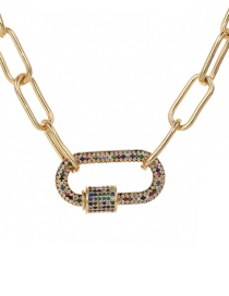 Fashion Gold 60cm Alloy Color Diamond Ring Necklace