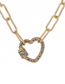 Fashion Gold 60cm Alloy Color Diamond Love Necklace