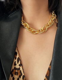 Fashion Golden Threaded Chain Frosted Alloy Necklace