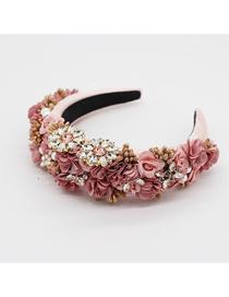 Fashion Pink Flower Rhinestone Pearl Sponge Broadband Hair Band