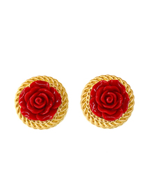 Fashion Red Flower Resin Inlaid Spiral Gold-plated Lace Button Earrings