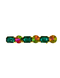 Fashion Dark Green Inlaid Faceted Crystal Geometric Hairpin
