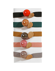Fashion Five Colors Thick Rubber Band Bright Beads Geometric Round Hair Rope Set