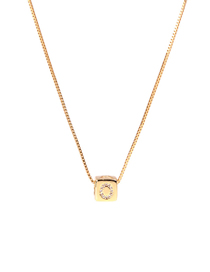 Fashion Golden O Letter Cube Dice Zircon Clavicle Necklace