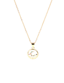 Fashion White Round Moon Alloy Necklace With Dripping Oil And Diamonds