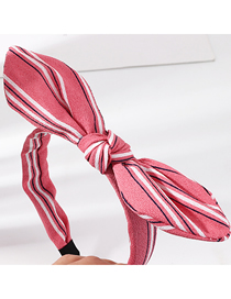 Fashion Pink Striped Contrast Color Knotted Rabbit Ear Headband