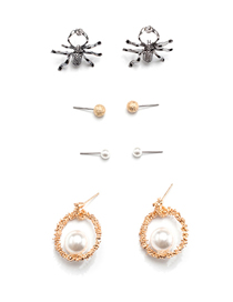 Fashion Color Mixing Spider Geometric Round Pearl Studs Set