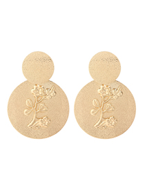 Fashion Golden Frosted Metal Multi-layer Round Alloy Flower Relief Earrings