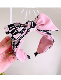Fashion Pink English Alphabet Stitching Contrast Color Bowknot Wide-brimmed Headband