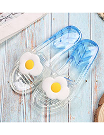Fashion Poached Egg Fruit Slippers Non-slip Crystal Transparent Slippers