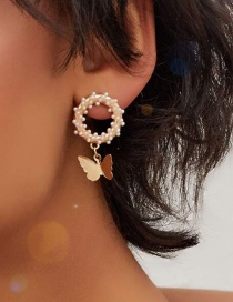 Fashion Golden Alloy Butterfly Circle Pearl Earrings