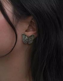 Fashion Ancient Gold Flower Butterfly 925 Silver Pin Stud Earrings
