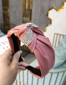 Fashion Pink Color Diamond Headband Knotted Wide-brimmed Hair Band