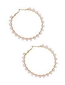 Fashion Pink Alloy Resin Bead Circle Earrings