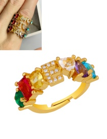 Fashion E Gold Heart-shaped Adjustable Ring With Colorful Diamond Letters