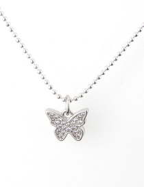 Fashion White Gold And White Zirconium Copper Plated Butterfly Color Zircon Necklace