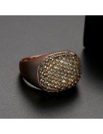 Fashion Yellow Gold Plated Ring With Copper Plated Zircon