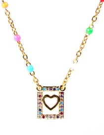 Fashion Golden Square Hollow Stainless Steel Dripping Oil Drilling Diamond Necklace