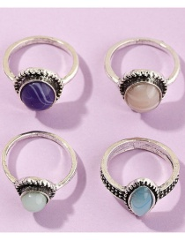 Fashion Silvery Gemstone Ring Four Piece