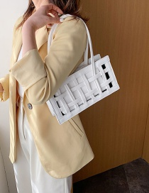 Fashion White Hollowed Out Mesh Handbag