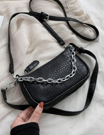 Fashion Black Stone Chain Chain Shoulder Bag