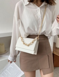 Fashion White Flip Chain Single Shoulder Bag