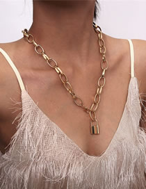 Fashion Golden Lock Chain Alloy Necklace
