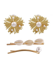 Fashion Golden Shell Alloy With Pearl Earrings Hairpin Combination Suit