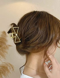 Fashion Bow Gold Metal Hollowing Geometry Grabbing Clip