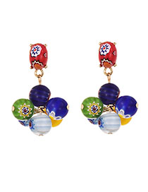 Fashion Colour Alloy Glass Bead Earrings