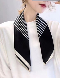 Fashion Black Striped Printed Silk Scarves Small Scarves Versatile Uses