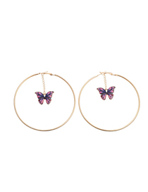 Fashion Violet Ring Cutout Butterfly Alloy Earrings