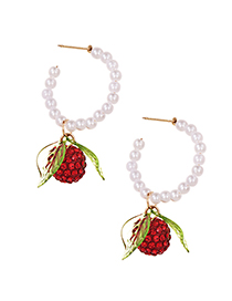 Fashion Red Pearl Earrings With Alloy Diamonds