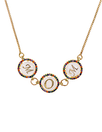 Fashion Golden Copper Pendant Zircon Mom Necklace