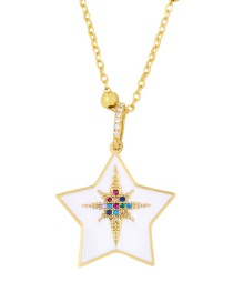 Fashion Pentagram Gold Round Pentagram Starry Diamond Necklace