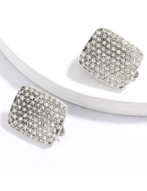 Fashion White Square Alloy Diamond Ear Clip