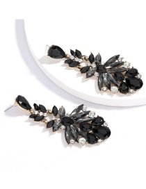 Fashion Black Multi-layer Alloy Rhinestone Glass Diamond Earrings
