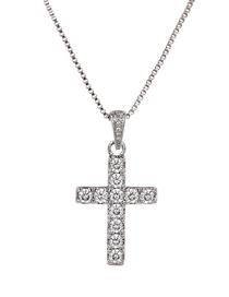 Fashion Silver Copper Inlaid Zircon Cross Necklace